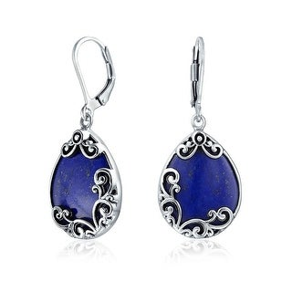 Bling Jewelry Teardrop Scroll 925 Silver Lapis Dangle Leverback Earrings - Blue