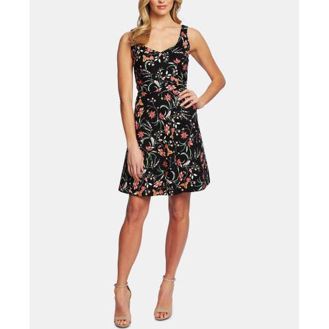 CeCe Womens A-Line Dress Red Black Size Large L V-Neck Floral-Print