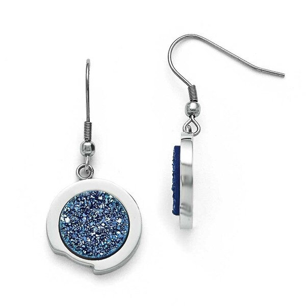 Chisel Stainless Steel Polished with Blue Druzy Stone Earrings