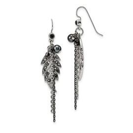 Black IP Black Acrylic Beads Dangle Earrings