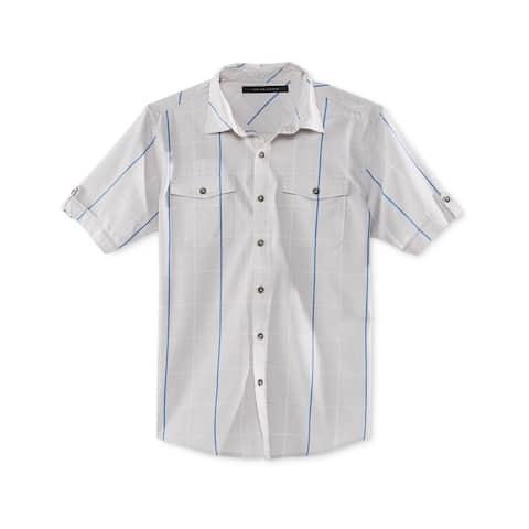 Sean John Mens Window Pane SS Button Up Shirt, Grey, Medium