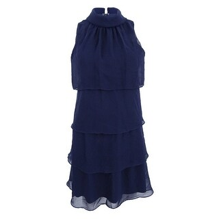 Jessica Howard Women's Petite Mockneck Tiered Sheath Dress - Navy