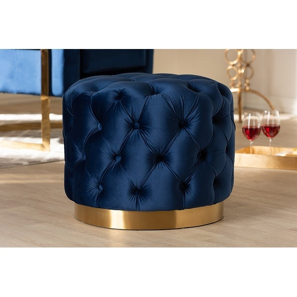 Bentley Royal Blue Velvet Fabric Gold-Finished Button Tufted Ottoman