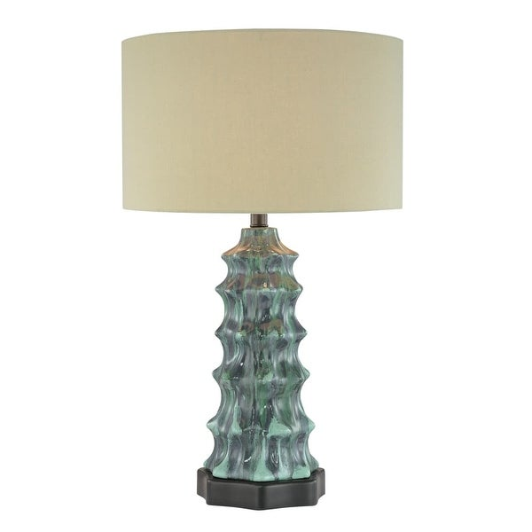 """Ambience AM 10171 1-Light 26"""" Height Table Lamp with Cream Shade - green patina - n/a"""