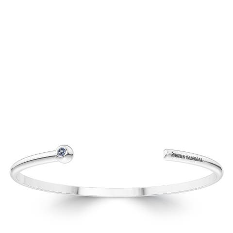 Los Angeles Angels Engraved Sterling Silver White Sapphire Cuff Bracelet