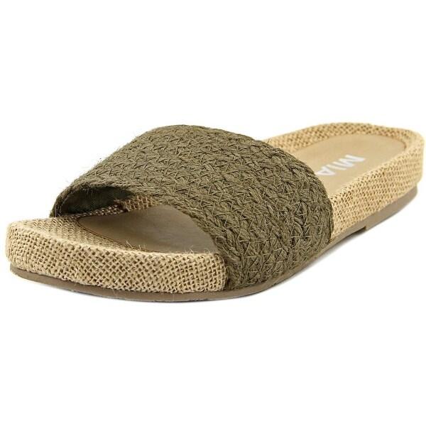 Mia Linara Women Open Toe Canvas Tan Slides Sandal