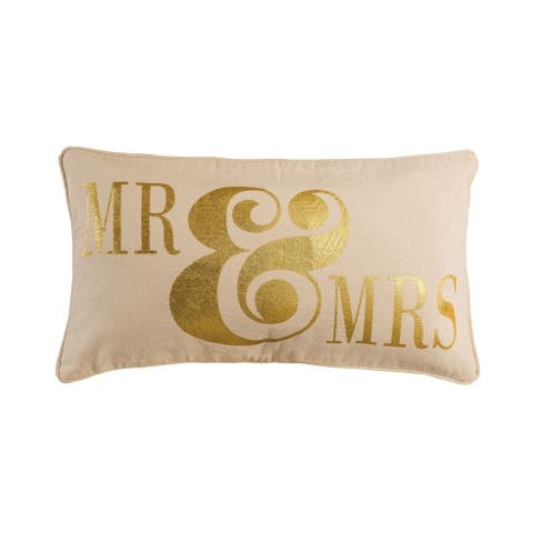 Gold Text Mr & Mrs Lumbar 20x12-inch Pillow Cover Only Bleached White/Gold Print Colors Bleached