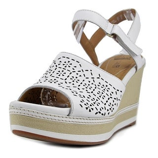 Clarks Zia Graze Women  Open Toe Leather White Wedge Sandal