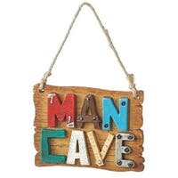 "3.5"" Multi-Colored ""Man Cave"" Christmas Plaque Ornament"