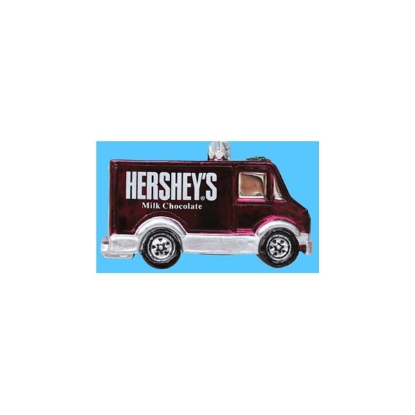 "3.5"" Chocolate Shop Handcrafted Brown Glass Hershey's Truck Christmas Ornament"