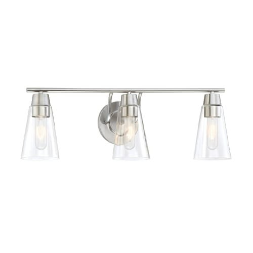 Designers Fountain 87803 Echo 3 Light Bathroom Fixture with Clear Glass Shades