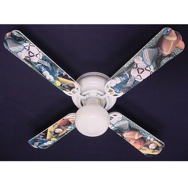Soccer Football Sports Themed 42in Ceiling Fan Light Kit - Multi