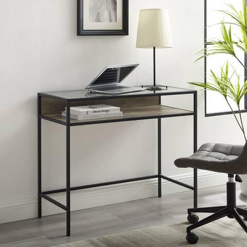 Carbon Loft Geller Compact Desk with Glass Top