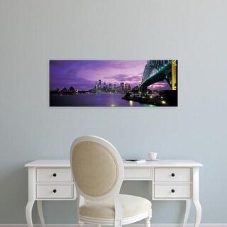 Easy Art Prints Panoramic Images's 'Port Jackson, Sydney Harbor And Bridge Night, Sydney, Australia' Canvas Art