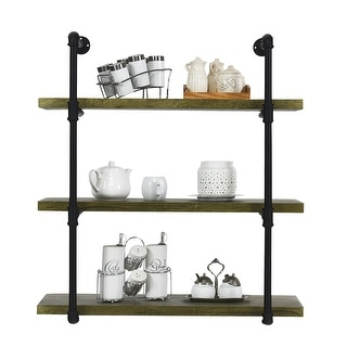 Costway 3-Shelf Rustic Pipe Shelving Unit, Vintage Industrial Pipe Wall Shelf Wood - Wood Grain