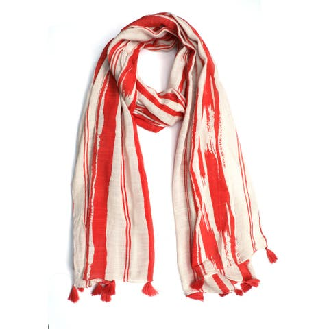 Artisan Abstract Striped Pattern Handwoven Bohemian Scarf Stole