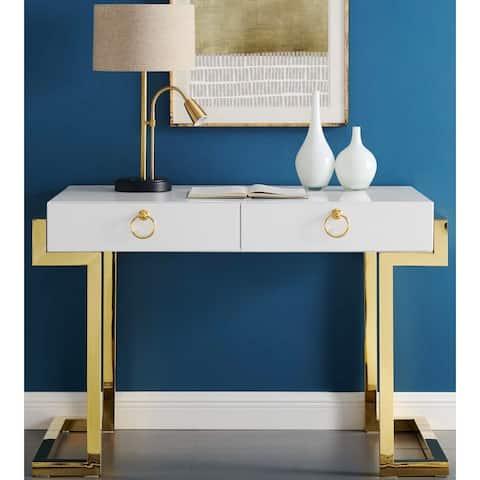 Contemporary Modern Geometric Design Gold Writing Desk