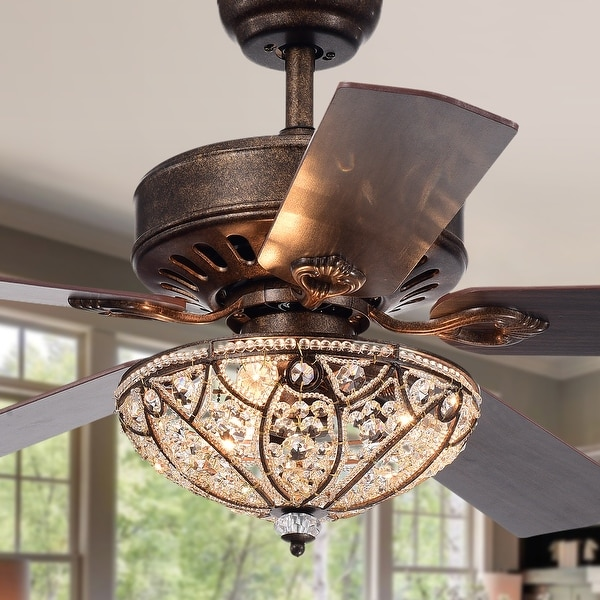 Gliska Rustic Bronze 5-blade Lighted Ceiling Fan with Crystal Shade. Opens flyout.