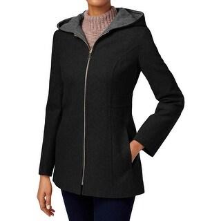 London Fog Womens Petites Basic Coat Wool Hooded - pxs