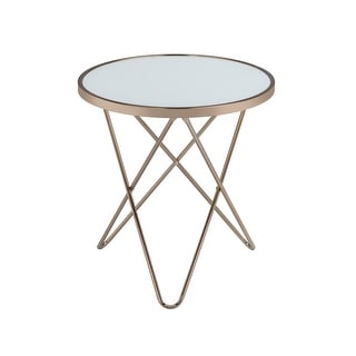 End Table In Frosted Glass & Champagne - Glass, Metal Tube Frosted Glass & Champagne