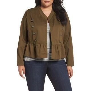Sejour Army Green Womens Size 18W Plus Military Peplum Jacket