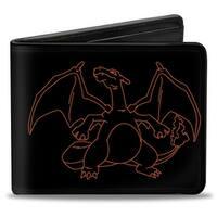 Charizard Outline Poses Black Orange Bi Fold Wallet - One Size Fits most