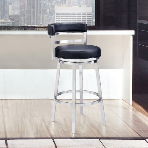 Armen Living Brushed Stainless Steel and Black Faux Leather Bar and Counter Stool