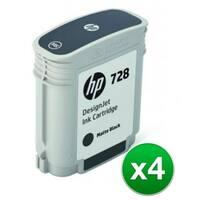 HP 728 130-ml Matte Black DesignJet Ink Cartridge (F9J64A)(4-Pack)