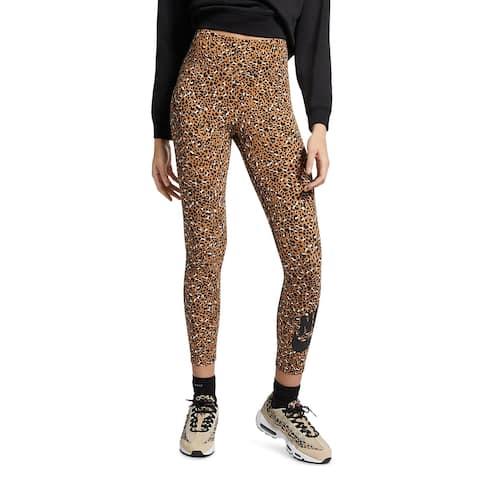 Nike Womens Athletic Leggings Fitness Running - Brown - XS