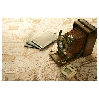 """Antique camera and world map"" Poster Print"