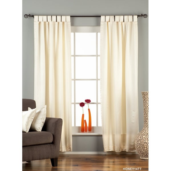Cream Tab Top 90% blackout Curtain / Drape / Panel - Piece. Opens flyout.