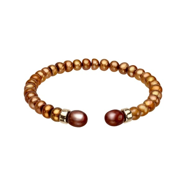 5 mm Brown Freshwater Pearl Bangle Bracelet with 14K Gold