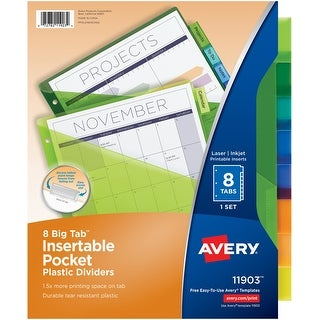 Avery Big Tab Insertable Plastic Dividers With Pockets-8 Multicolor Tabs, 1 Set