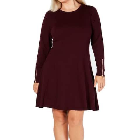 Michael Kors Women's Sweater Dress Wine Purple Size 2X Plus Zip Sleeve