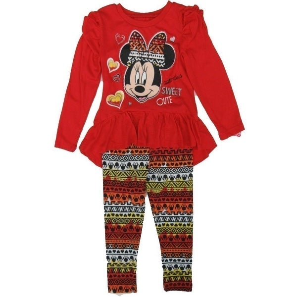 e25650f8ad Shop Disney Little Girls Red Minnie Mouse Ruffle Long Sleeve 2 Pc Legging  Set - Free Shipping On Orders Over  45 - Overstock - 18167865