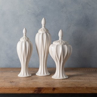 Link to Adrastos White Modern Ceramic Decorative Jar (Set of 3) Similar Items in Accent Pieces