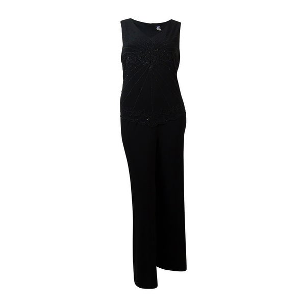 MSK Women's Sleeveless Caviar Beaded Jersey Jumpsuit - Black - 12