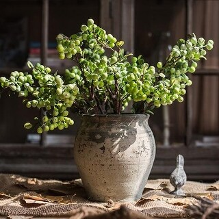 "G Home Collection Rustic Artificial Berry Stem in Green 17"" Tall"