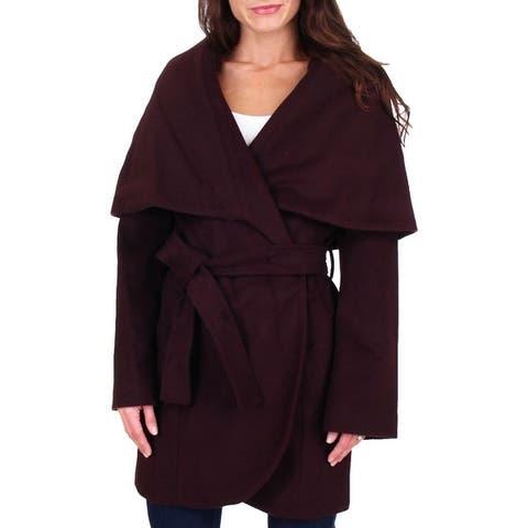 T Tahari Marla Womens Oversized Collar Wool Wrap Coat