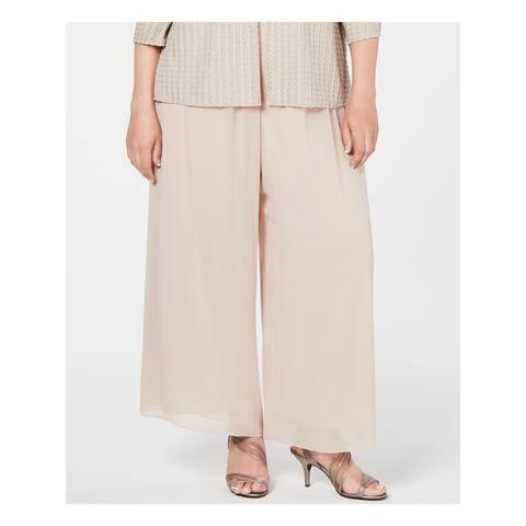 ALEX EVENINGS Womens Beige Sheer Wide Leg Pants Size 2X