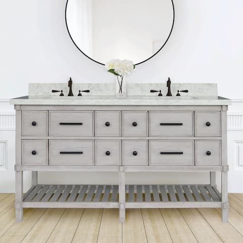 60 inch White Oak Double Vanity with Quartz Top, Solid Mahogany Base