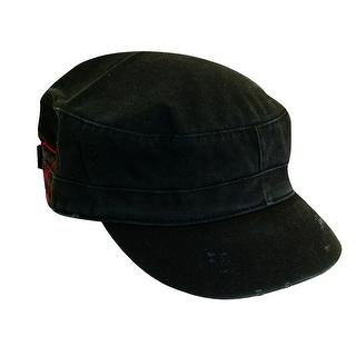 Dorfman Pacific Distressed Cotton Military Cadet Hat - One size