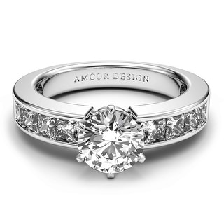 Link to 14K White Gold 1.10 CT Channel Princess Round Diamond Engagement Ring - White H-I Similar Items in Wedding Rings