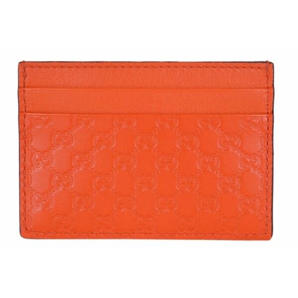 """Gucci 476010 Sun Orange Leather Micro GG Guccissima Small Card Case - 4"""" x 2.75"""""""