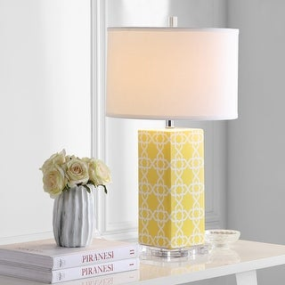 """Link to Safavieh Lighting 27-inch Yellow Quatrefoil Table Lamp (Set of 2) - 15""""x15""""x27"""" Similar Items in Table Lamps"""