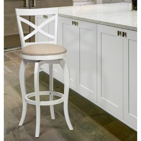The Gray Barn Chatterly White and Beige Swivel Wood Stool