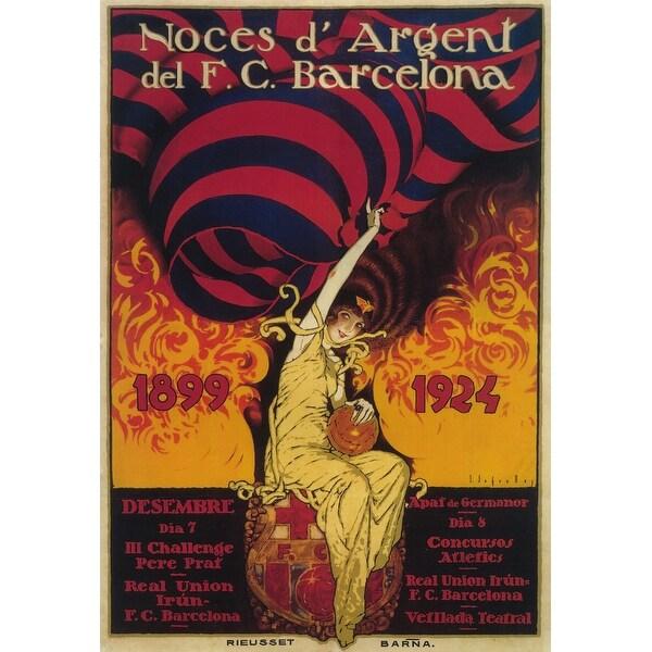 Barcelona, Spain - Soccer - Vintage Advertisement (Chef's Cotton/Poly Apron)