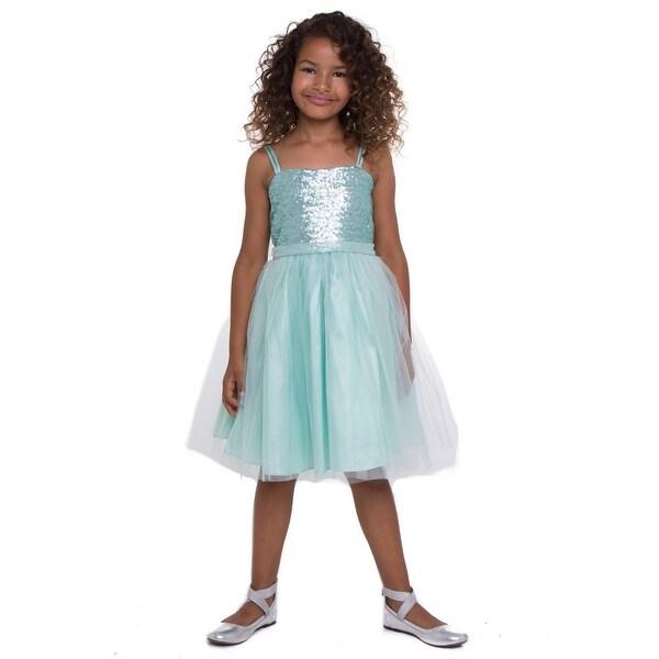 Shop Big Girls Mint Sequined Top Tulle Junior Bridesmaid Dress ... 070e8b6d03d9