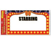"""Club Pack of 12 Theater Marquee Sign Peel 'N Place Decorations 24"""" - Red"""
