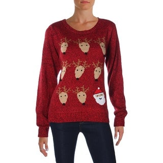 Karen Scott Womens Christmas Pullover Sweater Graphic Holiday